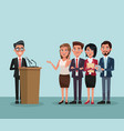 politician speaking cartoon vector image