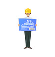 professional constructor character with blueprint vector image