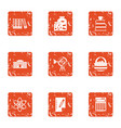 scientific paper icons set grunge style vector image