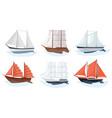 sea sailboats ships set water carriage and vector image