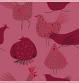 seamless pattern with chickens and rooster vector image vector image