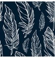 Seamless pattern with outline decorative feathers vector image