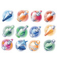 set multicolored glass flasks and bottles vector image