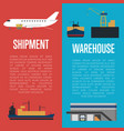 shipment and warehouse banner set vector image vector image