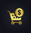 shopping cart money buy gold logo vector image vector image