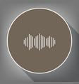Sound waves icon white icon on brown vector image