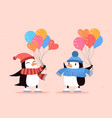two cute penguins with colorful balloons on pink vector image vector image