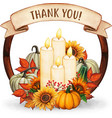 watercolor hand drawn fall wreath with candles vector image vector image