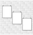white brick wall with placards vector image