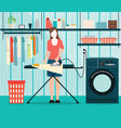 woman ironing of clothes on ironing board vector image