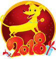 yellow dog - symbol of the new year 2018 vector image vector image