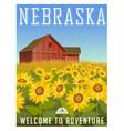 nebraska travel poster or sticker vector image