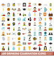 100 drinking examination icons set flat style vector image