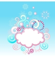 Abstract swirls background with cloud shape frame vector image vector image