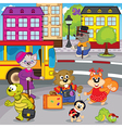 animals in city come by bus vector image vector image