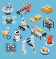 automatic logistics delivery isometric icons vector image vector image