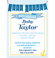 Baby-Shower Sailor Blue vector image vector image