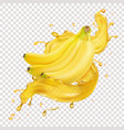 banana fresh juice splash realistic icon vector image vector image
