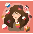 beautiful girls woman with cup cakes vector image vector image