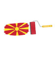 brush stroke with macedonia national flag isolated vector image