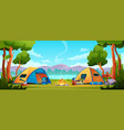 camping hiking tents tourist equipment on nature vector image vector image