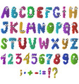 cartoon flat monsters alphabet icons colorful vector image