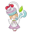 cartoon girl with cake on her head vector image vector image