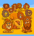 cartoon lions animal characters group vector image vector image