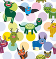 Cute cartoon Monsters Set seamless pattern on vector image vector image