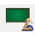 cute cartoon school girl sitting on books pile vector image vector image