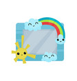 cute photo frame with sun rainbow and clouds vector image