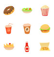 different fast food icons set cartoon style vector image vector image
