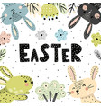 Easter poster or card with cute bunnies