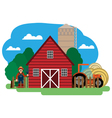 farmer farm building and related items vector image