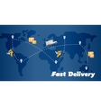 Fast delivery banner World map with routes vector image vector image