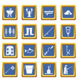 fishing tools icons set blue vector image vector image