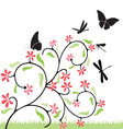 flowers-and-butterflies vector image vector image
