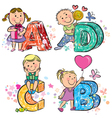 Funny alphabet with kids ABCD vector image vector image