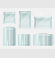 glass box transparent crystal cube and cylinder vector image