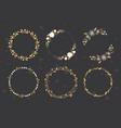 golden luxury christmas round wreath frame vector image