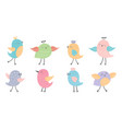 hand drawn set of cute birds vector image