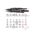 Handdrawn calendar February 2015 vector image