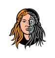 hel norse goddess of death head retro vector image