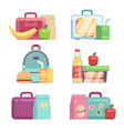 kids snacks school lunch boxes set vector image vector image