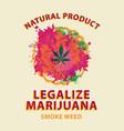 marijuana banner cannabis leaf on bright spots vector image vector image