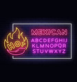 mexican food neon sign design template vector image