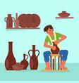 potter making ceramic pot flat vector image vector image