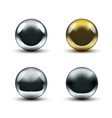 realistic 3d chrome ball isolated on white vector image vector image