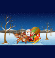 santa claus and elf sliding in the snowing hill vector image vector image