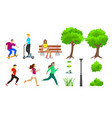 summer city park elements set vector image vector image